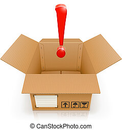 opened box with exclamation mark vector illustration...
