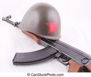 AK-47 - A AK-47 with a russian helmet