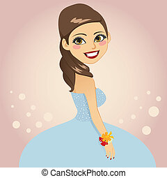 Prom Celebration - Beautiful brunette girl in blue formal...