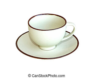 Ceramic teacup - Classic ceramic teacup isolated with...