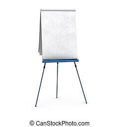 blank flipchart over white background view of the front...