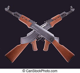 AK-47 - Two crossed AK-47 on black background