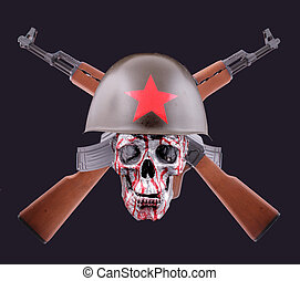 AK-47 - Two crossed AK-47 with a russian helmet on black...
