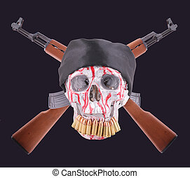AK-47 - Two crossed AK-47 with a human skull with a black...