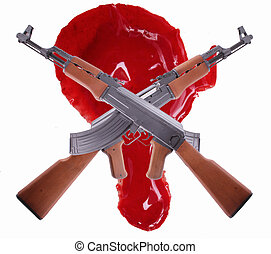 AK-47 - Two crossed AK-47 with a big drop of blood
