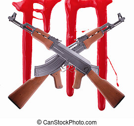 AK-47 - Two crossed AK-47 with trails of blood