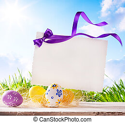 art Easter greeting card with Easter eggs - Easter greeting...