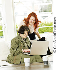 Women by the computer