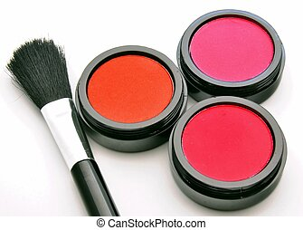 Three blush with a makeup brush surrounded by white...