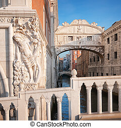 Bridge of Sighs in Venice - Italy - Bridge of Sighs in...