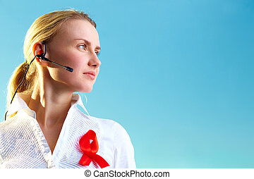 Hotline receptionist - Portrait of pretty woman with headset...