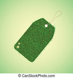 Green grass tag for spring design