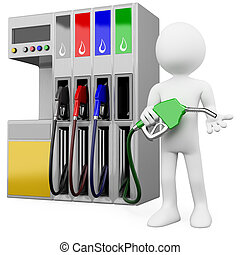 3D worker at a gas station with a petrol pump. Rendered at...