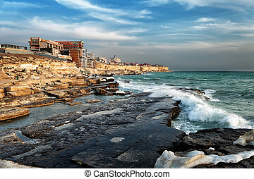 Aktau city, Kazakhstan - View of the city of Aktau in the...