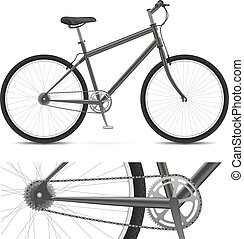 Simple Bike - Bicycle with wheels, pedals, chain gear, and...
