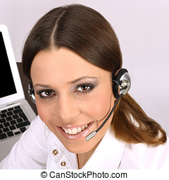 call service operator - Closeup of friendly call sevice...