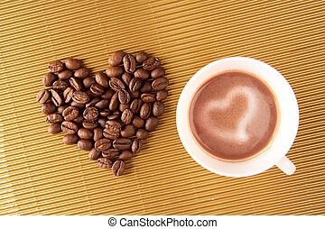 Love for coffee - Photo of cup of coffee with shape of heart...