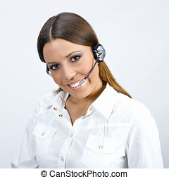 call service operator - Friendly call sevice operator woman