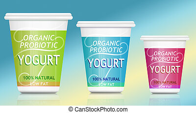 Probiotic yogurt. - Illustration depicting three organic...