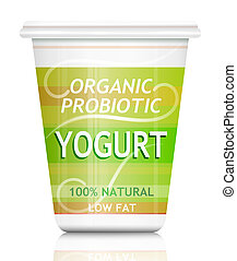 Probiotic yogurt - Illustration depicting a single organic...