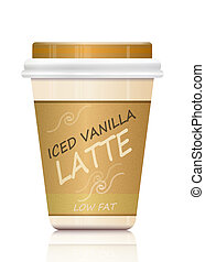 Iced vanilla latte - Illustration depicting a single...