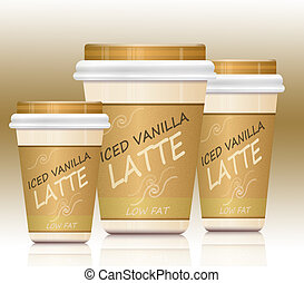 Iced vanilla lattes - Illustration depicting three take-out...