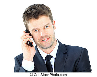 Portrait of a business man with phone isolated on white...
