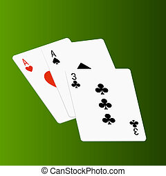Poker cards on green - Illustrated poker cards on green...