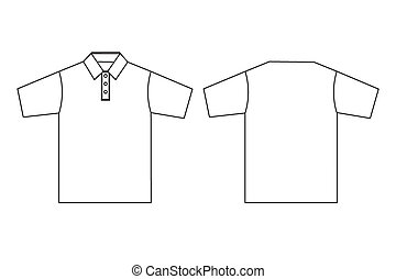 Polo clothing template outline - Simple illustration of polo...
