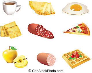 Food icon set - Food vector icon set - coffee, pancakes,...