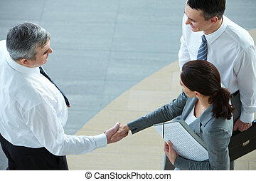 Agreement - Image of business partners handshaking after...