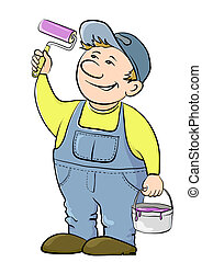 Worker house painter - Working house painter paints, in...