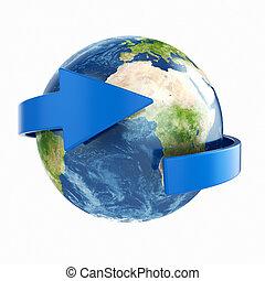 Earth with arrow