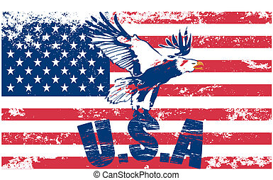 Us flag with eagle and background grunge