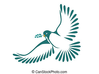 Dove with laurel leaves