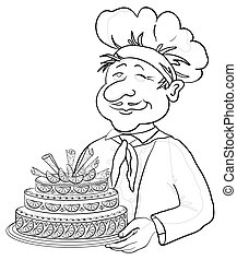 Cook with cake, contour - men cook with holiday cake,...
