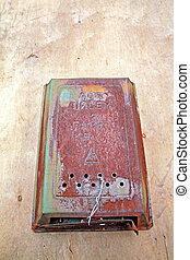 old mailbox on wooden door