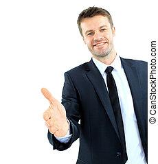 negócio, homem, dizendo, bem-vindo, Dar, mão