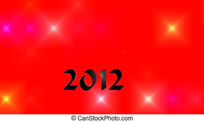 2012 - Number 2012 slowly floats on a red background among...