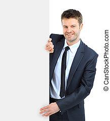 heureux, Sourire, Business, homme, projection, vide,...