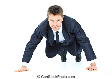 handsome service business man doing push ups isolated on...