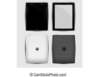 Vector Black abstract tablet pc on white.