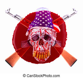 AK-47 - Two crossed AK-47 with a human skull with a american...