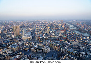 Frankfurt am Main, Germany - The view of the east direction...