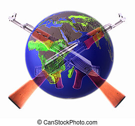 AK-47 - Two crossed AK-47 with a globe