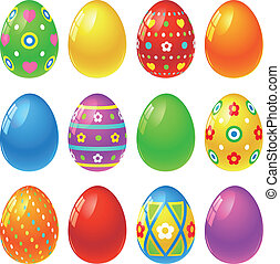 Easter eggs - Set of colourful Easter eggs