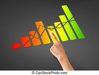 Financial Graph - Hand pointing at a colorful business...