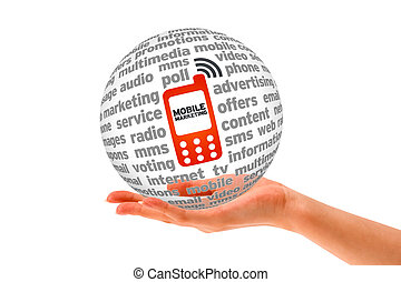Mobile Marketing - Hand holding a Mobile Marketing 3d Sphere...
