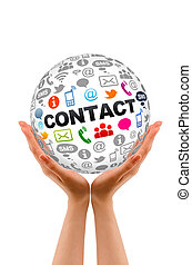 Contact Us - Hands holding a round Contact Us sphere.