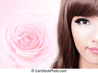 asian beauty smile face with pink rose